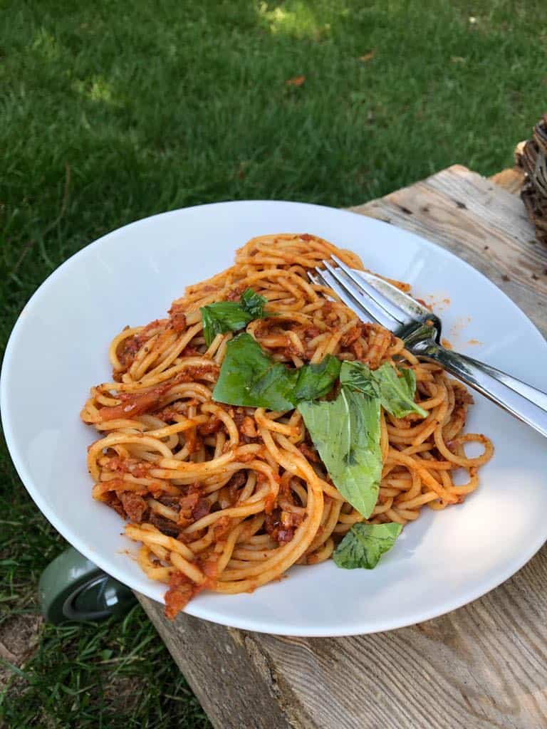 Spaghetti bolognese z tempehem